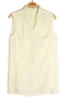 Beige V-neck Sleeveless Buttons Pockets Chiffon Blouse $29