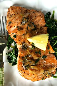 This Pan-Roasted Salmon with Thyme Butter Sauce is delicious served at a small get-together! Easy entertaining tip: Make the sauce prior to guests arriving.