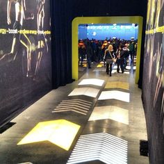 Projected lighting guides guests to #adidas' presentation to reveal new footwear innovation #boost #NYC