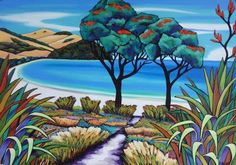 Walk to the Beach landscape scenery painting. New Zealand Watercolor Artwork, Watercolour, Scenery Paintings, New Zealand Art, Nz Art, Kiwiana, Beach Landscape, Contemporary Artwork, Art Drawings