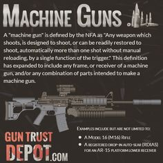 NFA Machine Guns #nra #itsmyright #progun #gunsafety #2a #firearms #gunporn  NFA gun trusts allow you to safely and conveniently own firearms regulated by the National Firearms Act such as (pre '86) machine guns. Our simple process will guide you step-by-step. www.guntrustdepot.com  You can check out: http://machinegunpriceguide.com/html/machine_guns.html for pricing and types if you are interested in picking up a machine gun. Remember to check your states laws to see if they are legal in…