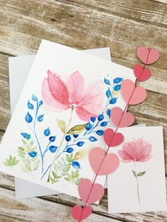 Greeting card  +  gift tag Blooming pink floral Matching Gifts, Watercolor Cards, Sell On Etsy, White Envelopes, Note Cards, I Card, Gift Tags, Card Making, Greeting Cards