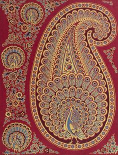 Sample of dyed and printed cotton cloth showing a blue peacock within a paisley motif, with smaller peacocks around the edges. From a 'Void Book', part of the Turkey Red Collection A.1962.1266.1 - A.1962.1266.78, with subdivisions, totalling c. 40,000 items: Scottish, Dunbartonshire, mid 19th century