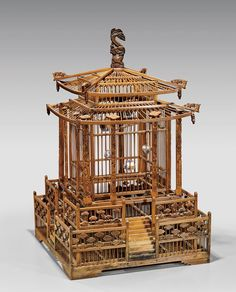 ANTIQUE CHINESE BAMBOO BIRD CAGE : Lot 384