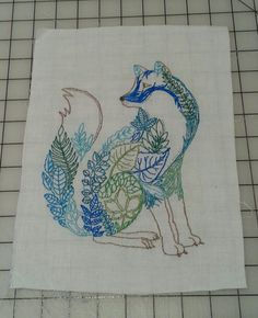 My fox embroidery. Design by Johanna Basford.