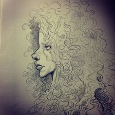 I love her curls! Drawing Faces, Drawings, Sketch Box, Cartoon Ideas, Animation Sketches, Illustration Art, Illustrations, Art Music, Curls