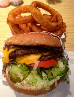 Double Charburger with Cheese & onion rings! At the Habit Burger Grill, #SanDiego California