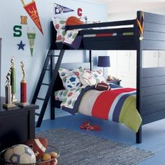 Good ideas for a shared boys bedroom with a sports theme. For more kids room decorating and organizing ideas visit https://www.facebook.com/KidsRoomDecor you may find something you 'LIKE'