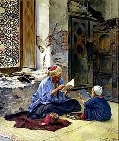 An Arab Schoolmaster Ludwig Deutsch Touchstones Rochdale Arts and Heritage Centre Painting - oil on panel Islamic Paintings, Old Paintings, Art Arabe, Empire Ottoman, Middle Eastern Art, Arabian Art, Kunst Online, Old Egypt, Pics Art