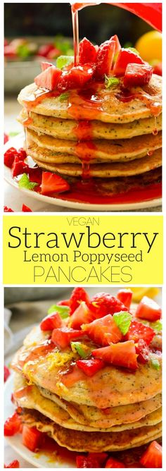 These vegan strawberry lemon poppy seed pancakes are easy to make and perfect for spring when the freshest ripe strawberries arrive at the markets. Serve them with vegan butter, maple syrup or a sweet homemade strawberry syrup for a delicious weekend brunch! via @cilantroandcitr