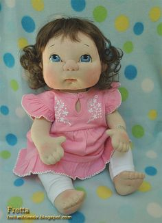 """Fretta's Life size 48 cm / 19"""" Jointed Baby Girl Doll. Brown Hair, Blue Eyes. All Natural Child Safe Textile Baby Doll."""