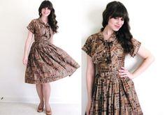 50s Dress / Brown 1950s Dress / 50s Shirtwaist Dress by Coldfish, $130.00