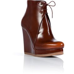 JIL SANDER Hazelnut Leather Wedge Booties ($760) ❤ liked on Polyvore