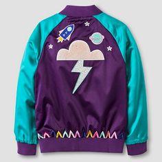 Girls' Satin Jacket Cat & Jack™ - Purple Patchwork S : Target