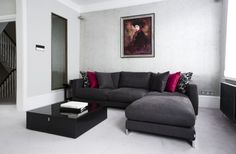 pink tones w/ gray couch