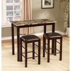 Espresso Finish 3-piece Counter-height Table and Chair Set - Free Shipping Today - Overstock.com - 18617075 - Mobile