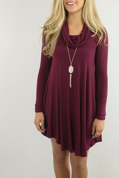 Crown Heights Burgundy Cowl Neck Long Sleeve Curved Hem Dress