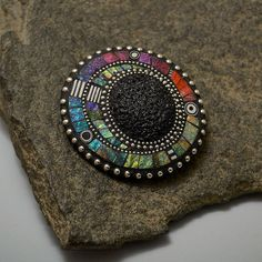 Pin Brooch convertable to necklace pendant with rainbow iridescent mosaic inlay polymer clay sterling  beads, bead chain