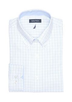 Nautica White Classic Fit Eastport Button Down Dress Shirt