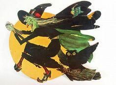 Vintage Halloween Witch Diecut Paper by BuckeyesandBluegrass on Zibbet