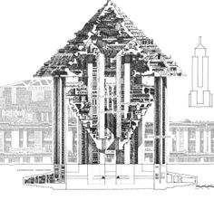 Hexahedron Arcology by Paolo Soleri on Curiator, the world's biggest collaborative art collection. Techno, Digital Museum, Futuristic Architecture, Drawing Architecture, Urban Life, Future City, Weird And Wonderful, Ecology, Paris Skyline