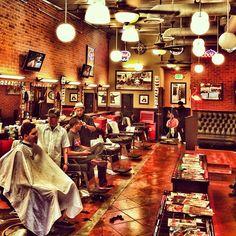 The barber shop.