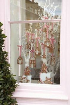 Idea for bakery xmas decoration more more. idea for bakery xmas decoration more more bakery window display, shop window displays, christmas Gingerbread Village, Christmas Gingerbread, Noel Christmas, Modern Christmas, Pink Christmas, All Things Christmas, Beautiful Christmas, Christmas Crafts, Gingerbread Decorations