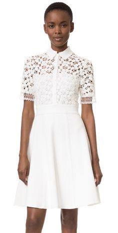 Lela Rose Lace Knit Shirtdress | SHOPBOP