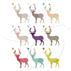 Deer and Bird Silhouette Clip Art by Creative Clip Art Collection. This set is perfect for woodland themed cards, invitations or print and frame for decorating.