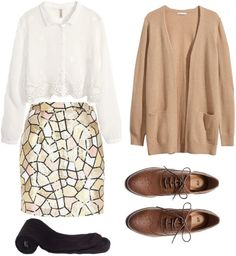 Sequin skirt outfit  --  Glittery Casual  --  For a simple yet glamorous outfit, opt for a sequined statement skirt. Pair it with more subtle and comfortable pieces, like this beautiful white blouse and this cashmere cardigan. Add a pair of thick tights to keep you extra warm. Finish the outfit with chic brown oxfords and you'll have a casual everyday look that's sure to make you stand out.