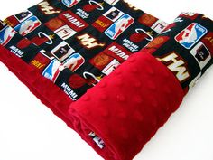 Miami Heat Red Minky Baby Blanket with a Waterproof Option