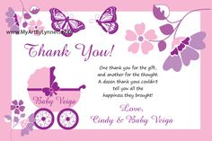 Thank you wording baby shower gifts | Monarch Butterfly Buggy Baby Shower invitation