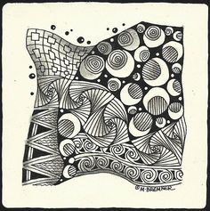 Enthusiastic Artist aka Margaret Bremmer:  Tangles: Black Pearlz, , Knase, Paradox, Screen, Yale & Croon --Circles are an example of  CROON tangle, see How-to: Zentangle Steps folder for instructions