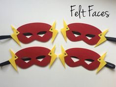 SET OF 4 Flash Superhero Party Masks Flash Party by KSFeltFaces