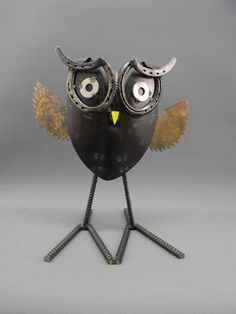 Folk art found object metal owl by OurUniquePerspective on Etsy