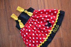 Girls Disney dress with Minnie Mouse would be great for a Birthday outfit for a Minnie Mouse party or Disney vacation. Minnie Mouse knot