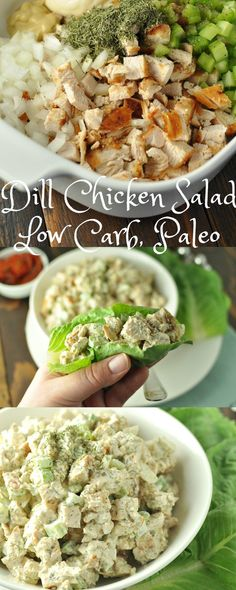 Quick and easy Dill Chicken Salad. - Low Carb, Paleo Quick and easy Dill Chicken Salad. Diet Recipes, Cooking Recipes, Healthy Recipes, Lunch Recipes, Recipes Dinner, Yogurt Recipes, Paleo Food, No Carb Healthy Meals, Easy Low Carb Recipes