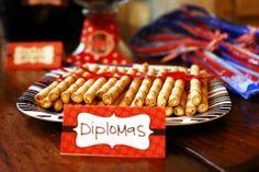Graduation theme - diplomas (not my favorite cookies, but they do look like mini diplomas)