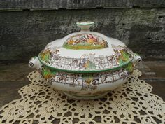 Spode Byron - Double Handled -  Brown Transferware - Lidded Tureen - Serving Dish -  Copeland - Scenic - Covered Casserole. $169.99, via Etsy.