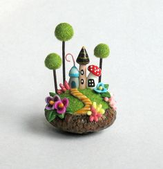 Miniature   Fairy House Colony in Acorn Cap  OOAK by C. Rohal