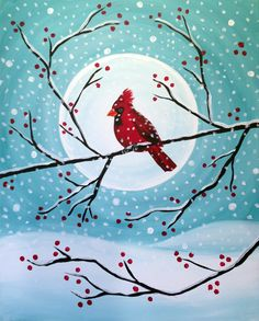 Snowy Cardinal| Creatively Uncorked | http://creativelyuncorked.com