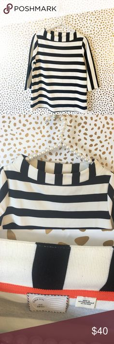 Anthropologie Postmark Striped Funnel Neck Top So cute and perfect dressed up or down! Excellent pre owned condition! Size small. Cute funnel neck detail. Black and white stripes. No trades!! 054173500gwf Anthropologie Tops Blouses