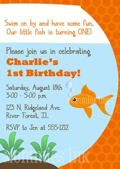 Orange Goldfish Birthday Party Invite