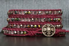 wrap bracelet  bright pink leather with iridescent by CorvusDesign