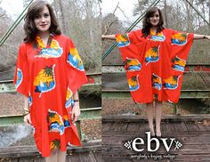 #Vintage 80's Red #Hawaiian Caftan Kimono Mini Dress S M L by shopEBV  #etsy #vacation #cruise #honeymoon by shopEBV, $62.00