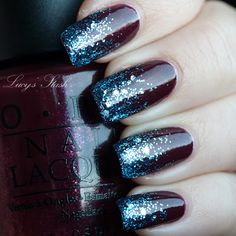 'Frozen tips manicure' -  Use two coats of 'Pepe's Purple Passion' (OPI OPI Muppets Collection - Holiday - 2011) and a bit of 'Gone Gonzo!' glitter (OPI Muppets Collection - Holiday -2011) for the tips. Then sealed it with thick coat of Seche Vite topcoat.
