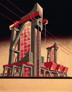 Constructivismo: hormigon y mas hormigon. Estructura muy vertical pesada con figuras simples.