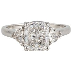 Cartier Radiant Cut Diamond Platinum Three-Stone Ring For Sale at Trillion Engagement Ring, Radiant Cut Engagement Rings, Platinum Engagement Rings, Three Stone Engagement Rings, Engagement Ring Cuts, Three Stone Diamond Ring, Three Stone Rings, Diamond Rings, Radiant Cut Diamond