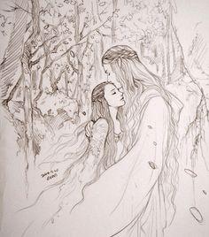 Galadriel and Arwen by evankart.deviantart.com on @DeviantArt Wise grandmother and her young evenstar