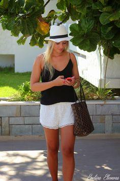 Summer outfit, black and white, hat, lv neverfull damier ebene
